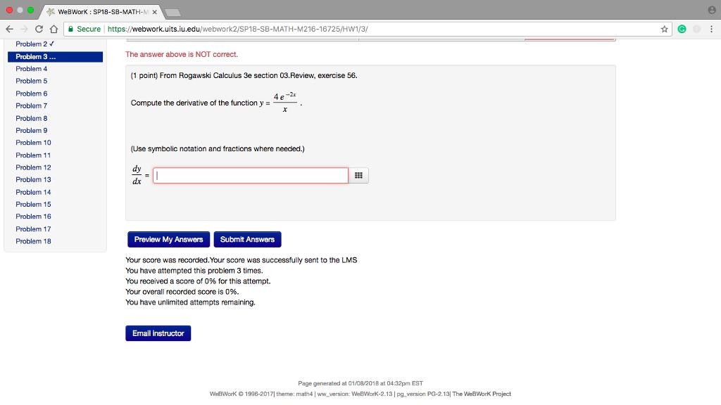 Solved: WeBWorK : SP18-SB-MATH-M × . CSecure Problem 2 Pro ...