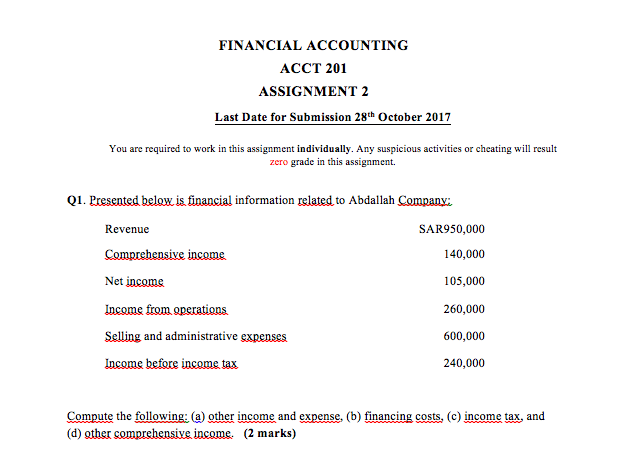 financial accounting acct assignment last da com financial accounting acct 201 assignment 2 last date for submission 28th 2017 you are required
