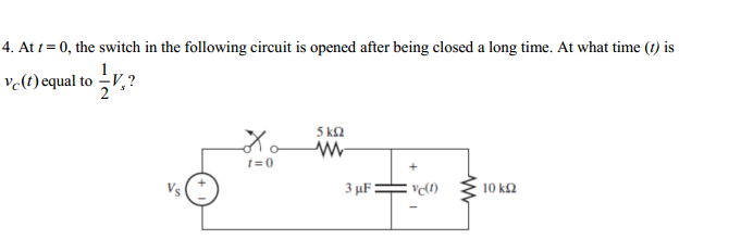 At t = 0, the switch in the following circuit is o