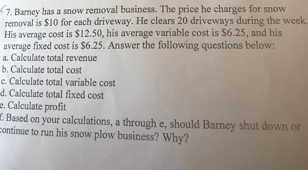 Question: Barney has a snow removal business. The price he charges for snow removal is $10 for each drivewa...