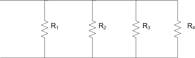 Four Resistors are connected in parallel. what is
