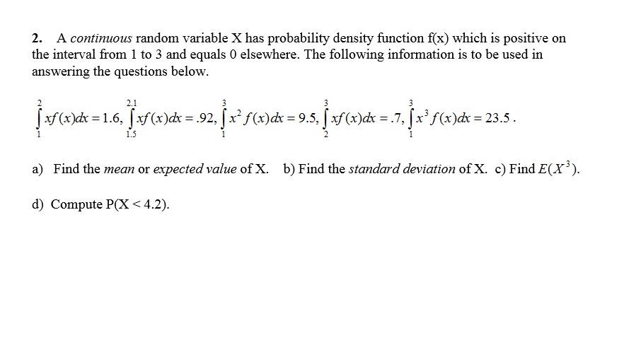 continuous random variable x has pdf