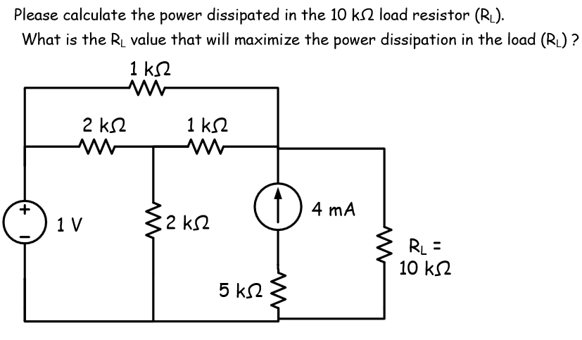 Please calculate the power dissipated in the 10 k