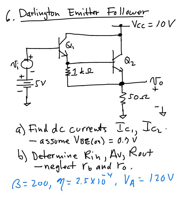 Find dc currents Ic1, Ic2 - assume VBE (on) = v