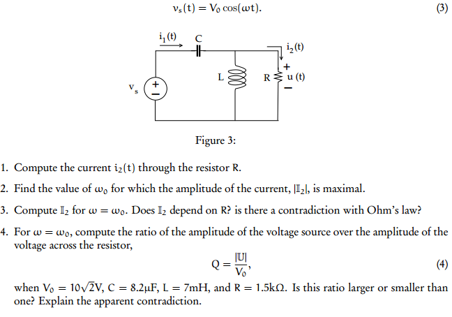 Compute the current i2(t) through the resistor R.