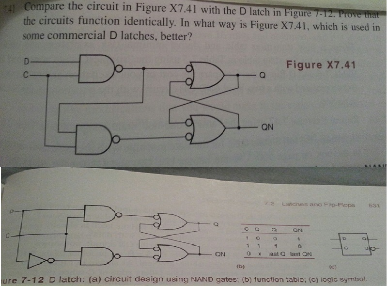 Compare the circuit in Figure X7.41 with the D lat