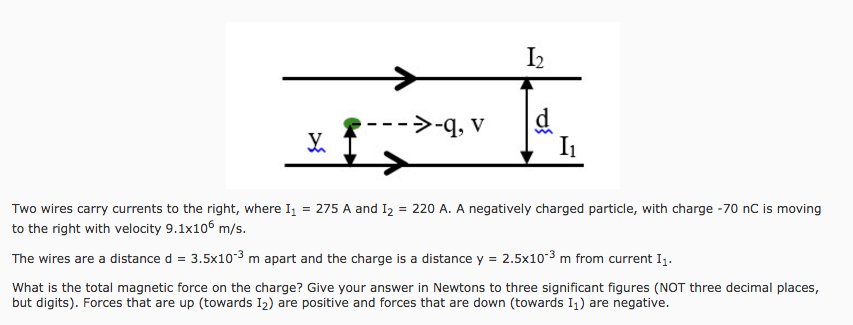 Two Wires Carry Currents To The Right, Where I1 = ... | Chegg.com