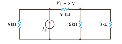 If V1 = 8 V in the circuit in the Figure, find I