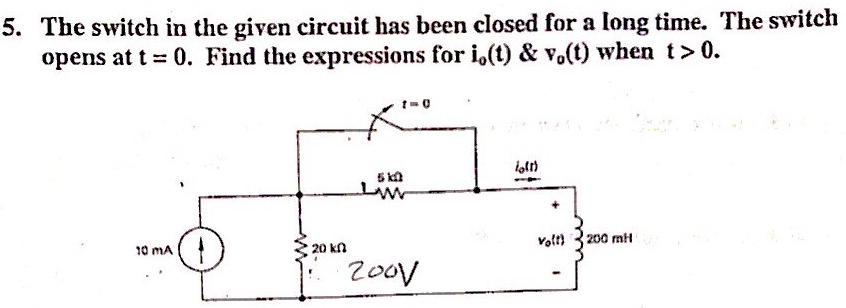 The switch in the given circuit has been closed fo