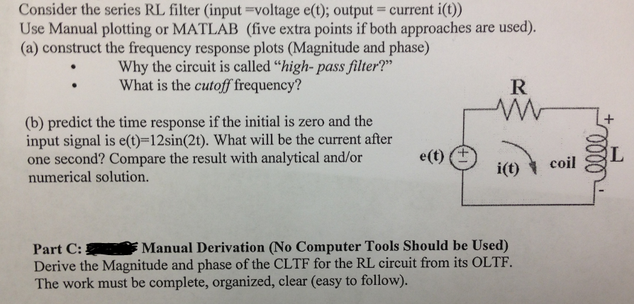 Consider the series RL filter (input=voltage e(t);