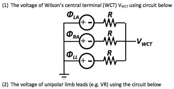 The voltage of Wilson's central terminal (WCT) VWC