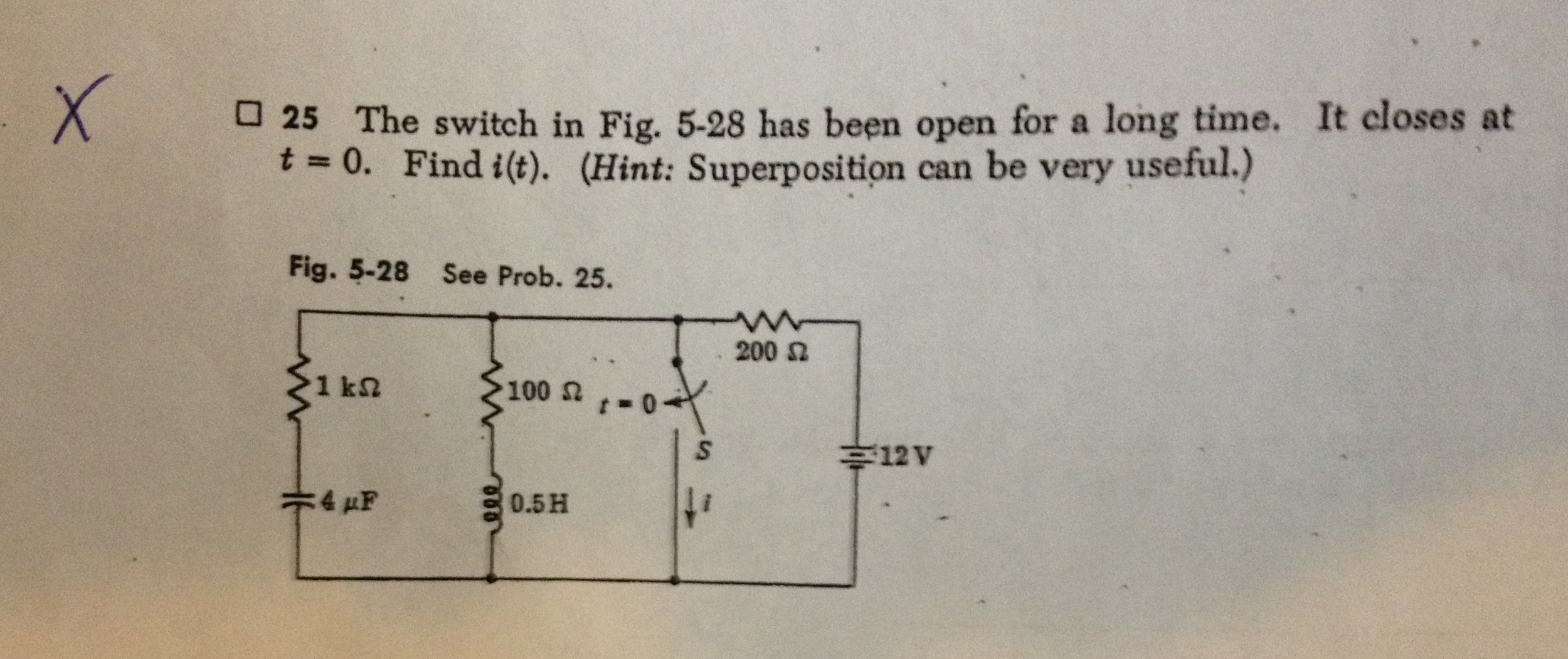 The switch in Fig. 5-28 has been open for a long t