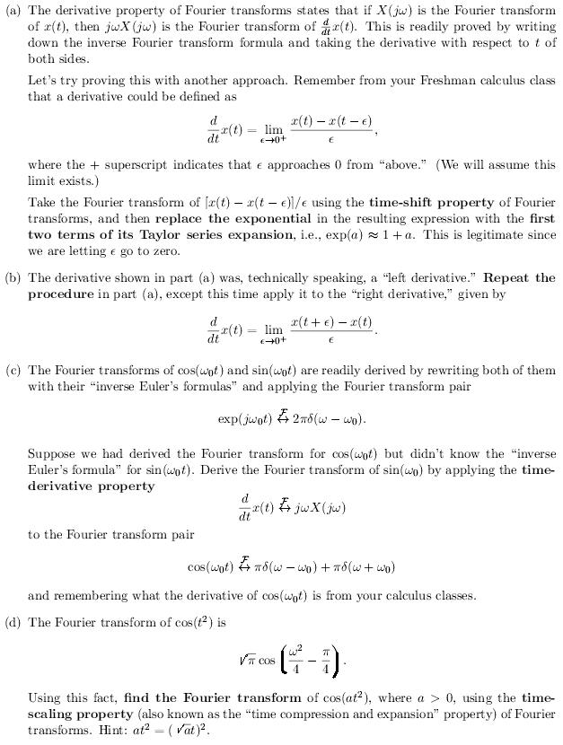 The derivative property of Fourier transforms stat