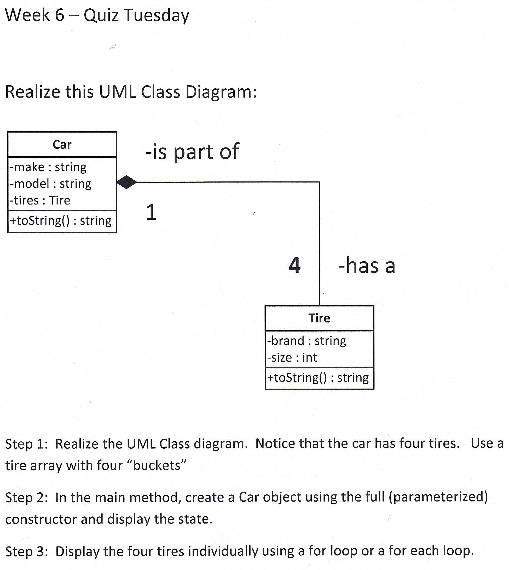 Week 6 quiz tuesday realize this uml class diagram chegg question week 6 quiz tuesday realize this uml class diagram car is part of make string model string ccuart Choice Image