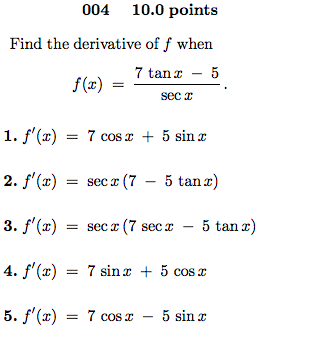004 10.0 Points Find The Derivative Of F When F(x)... | Chegg.com