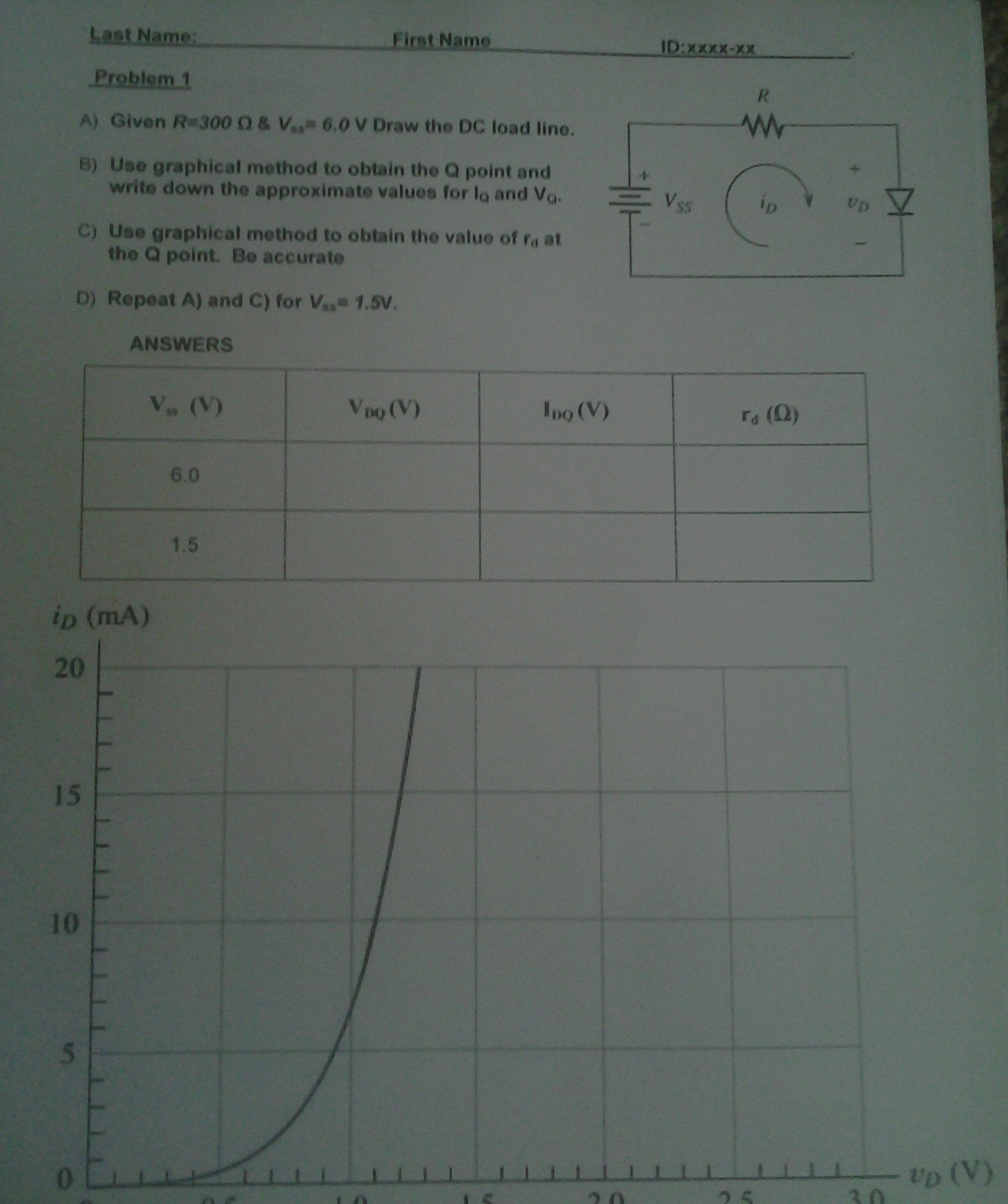 Given R=300 ohm & V = 6.0 V Draw the DC load line.