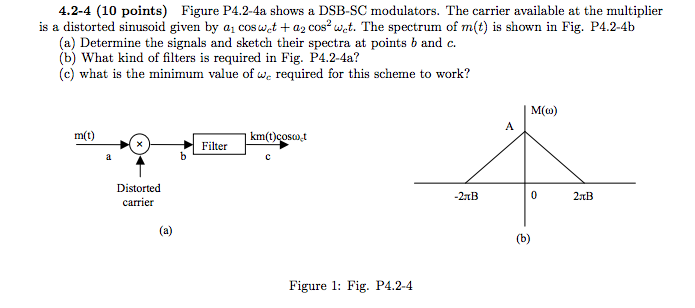 Figure P4.2-4a shows a DSB-SC modulators. The carr