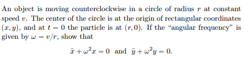 An object is moving counterclockwise in a circle o