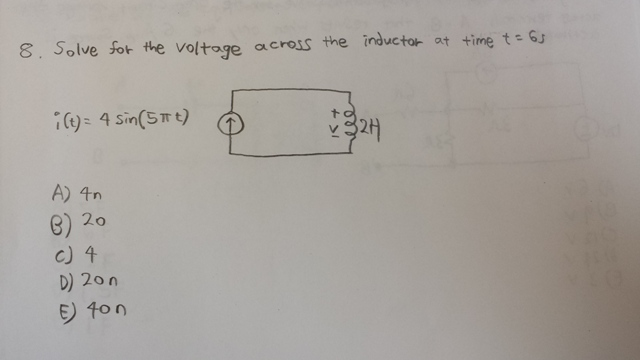 Solve for the voltage across the inductance at tim