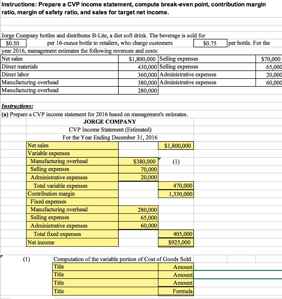 Solved: Contribution Margin Nstructions: Prepare A CVP Inc ...