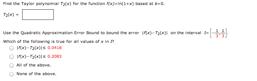Find the Taylo polynomial T2(x) for the function f