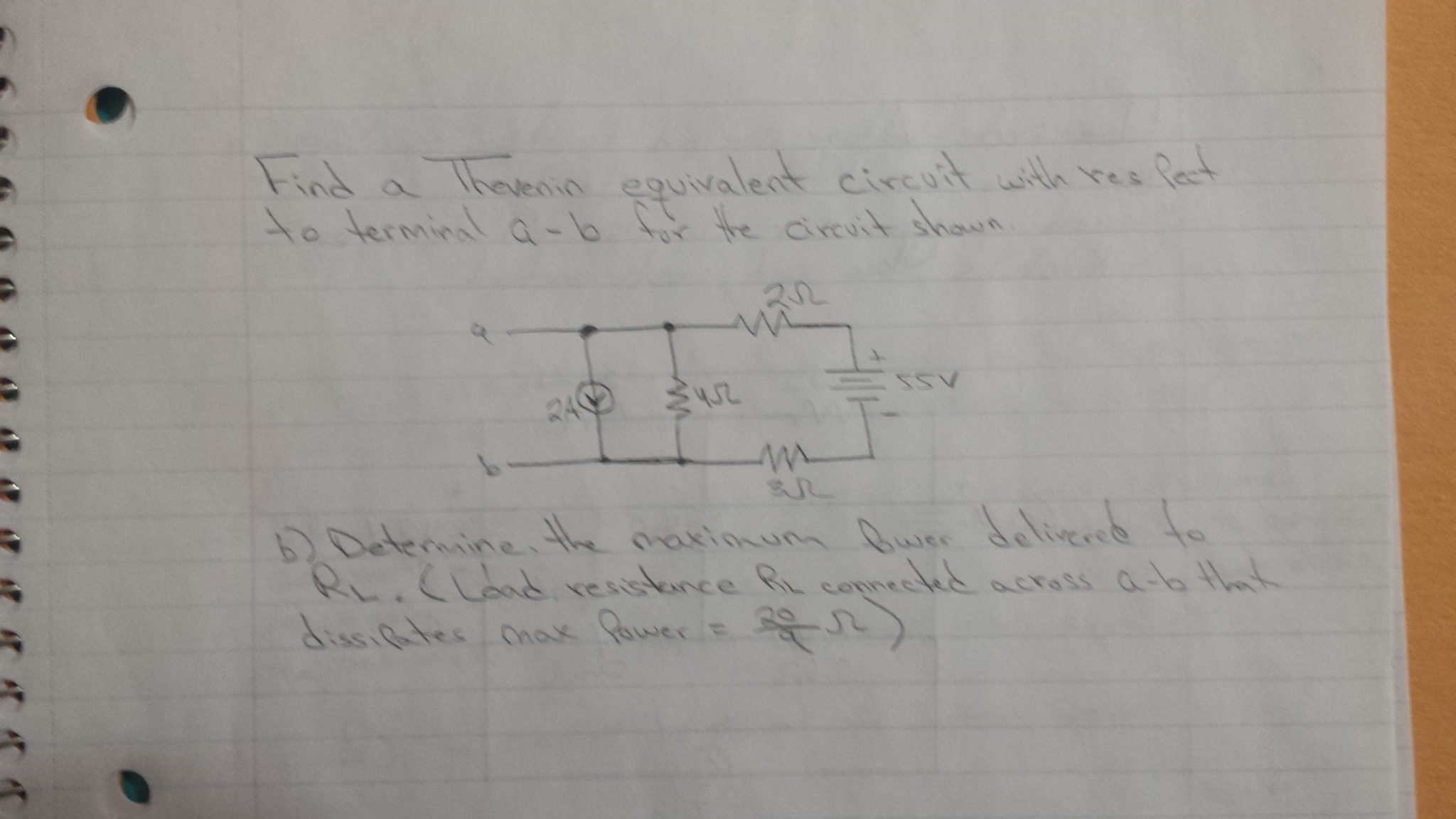 Find a Thevenin equivalent circuit with respect to