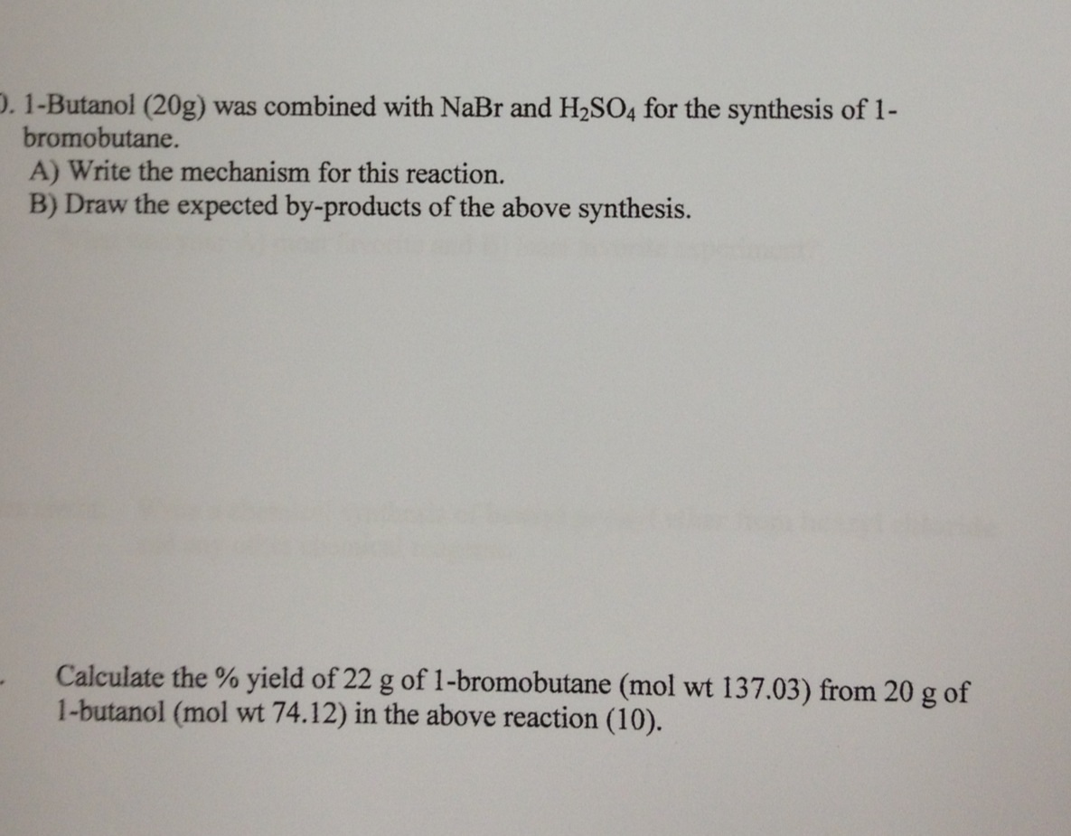 synthesis of 1 bromobutane from 1 butanol 42 experiment six synthesis of 1-bromobutane from 1-butanol discussion the treatment of a primary alcohol with a hydrogen halide yields a primary alkyl halide.