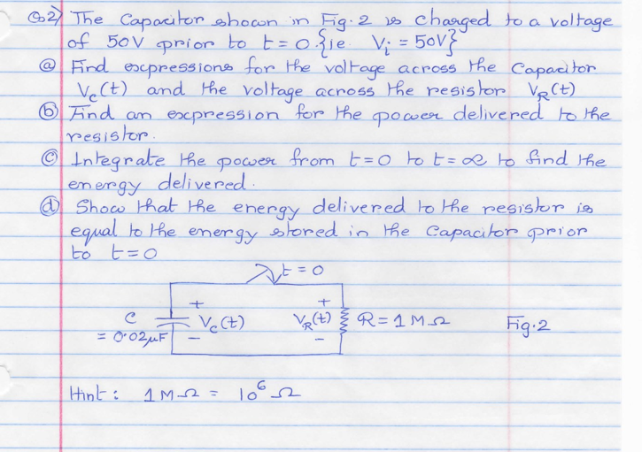 The capacitor shown in Fig 2 is charged to a volta