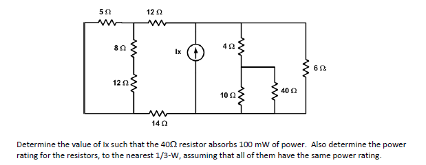 Determine the value of Ix such that the 40 ohm res
