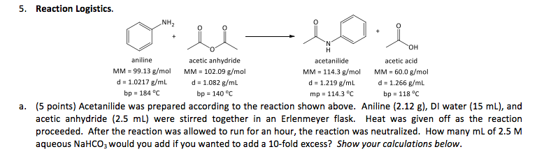 Acetanilide was prepared according to the reaction
