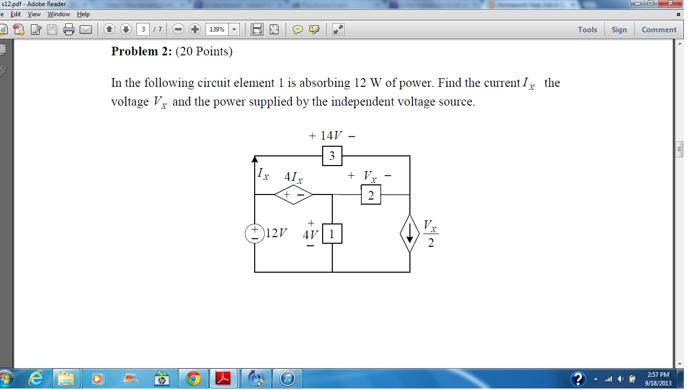 In the following circuit element 1 is absorbing 12