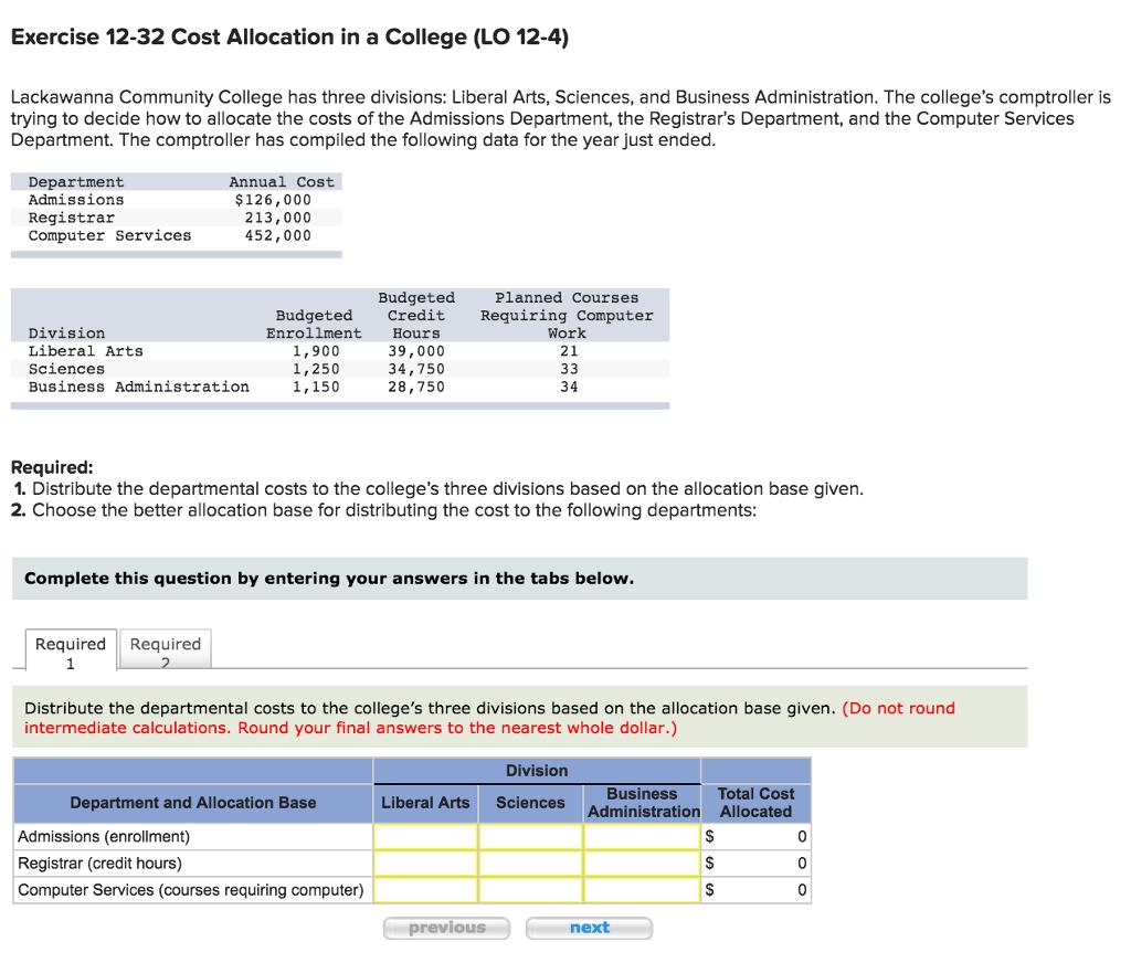 Exercise 1232 Cost Allocation In A College (lo 124) Lackawanna Utp Gpa  Calculator Screenshot