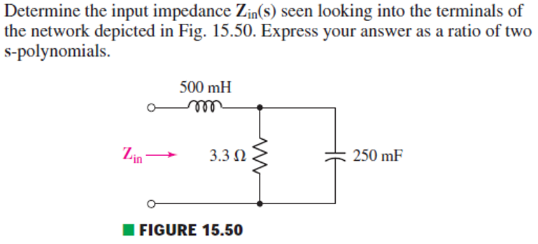 Determine the input impedance Zin(s) seen looking