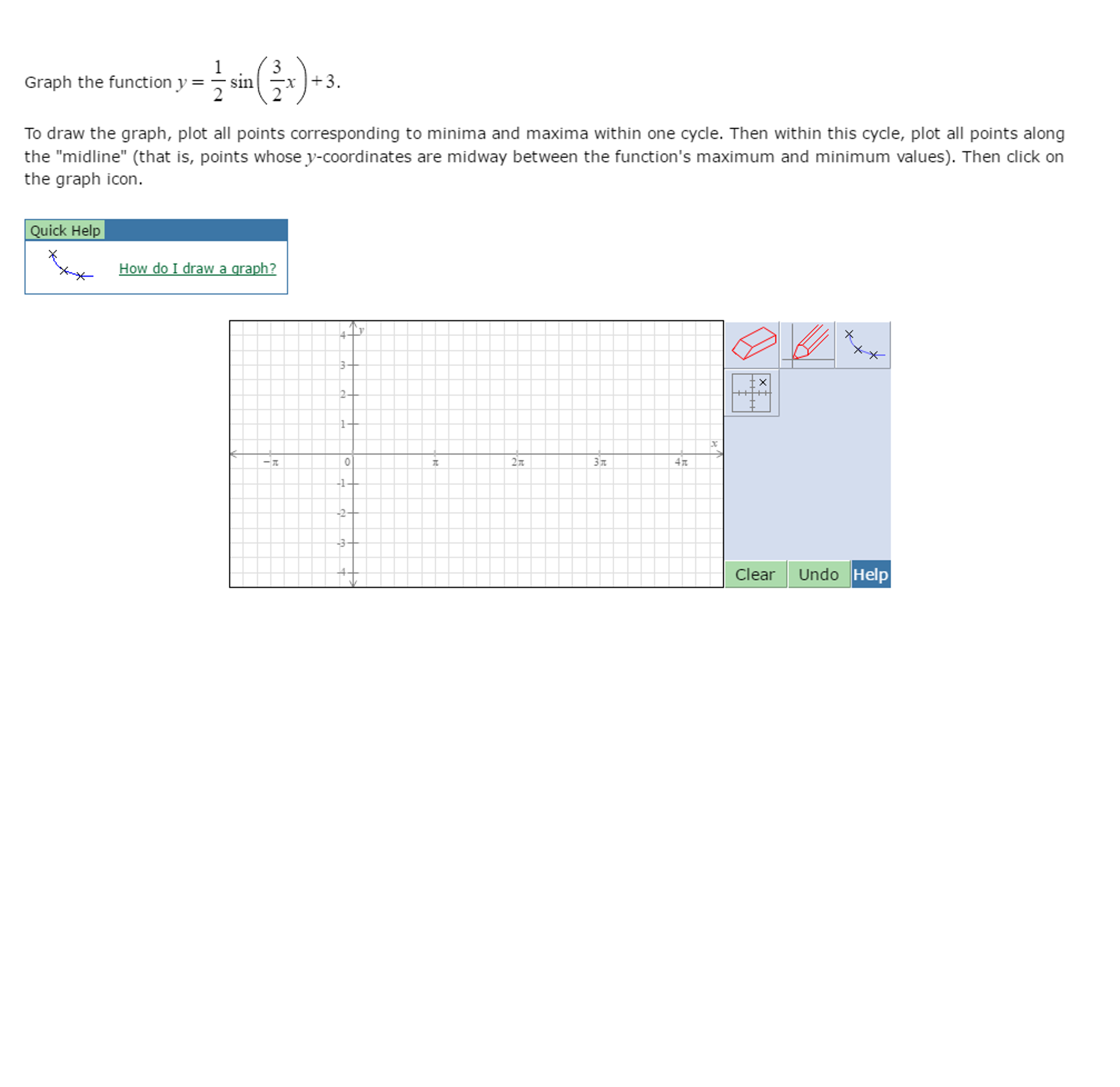worksheet Graph Coordinates graph the function y 12 sin 32 x 3 to dra chegg com x