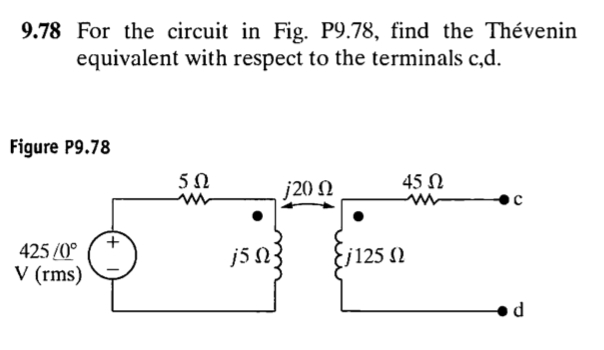 For the circuit in Fig. P9.78, find the Thevenin e