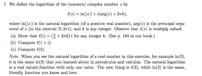 Solved 7 we define the logarithm of the nonzero comple we define the logarithm of the nonzero complex number z by e sciox Image collections