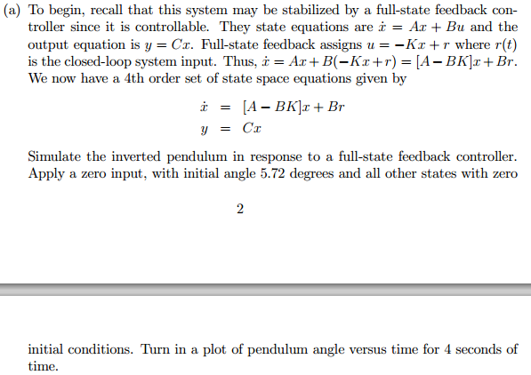 since it is controllable. They state equations are