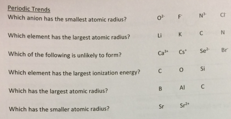 Solved which anion has the smallest atomic radius o2 f question which anion has the smallest atomic radius o2 f n3 cl which element has the largest atom urtaz Images