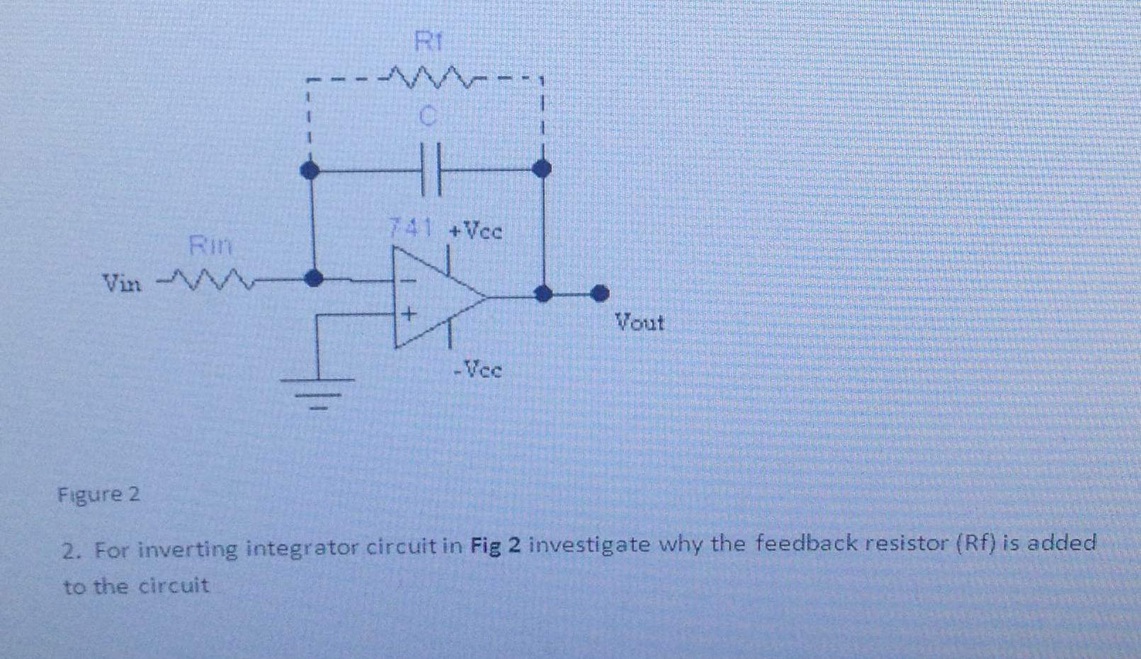 For inverting integrator circuit in investigate wh