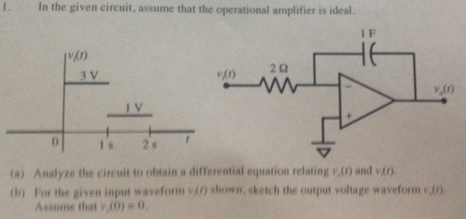 In the given circuit, assume that the operational