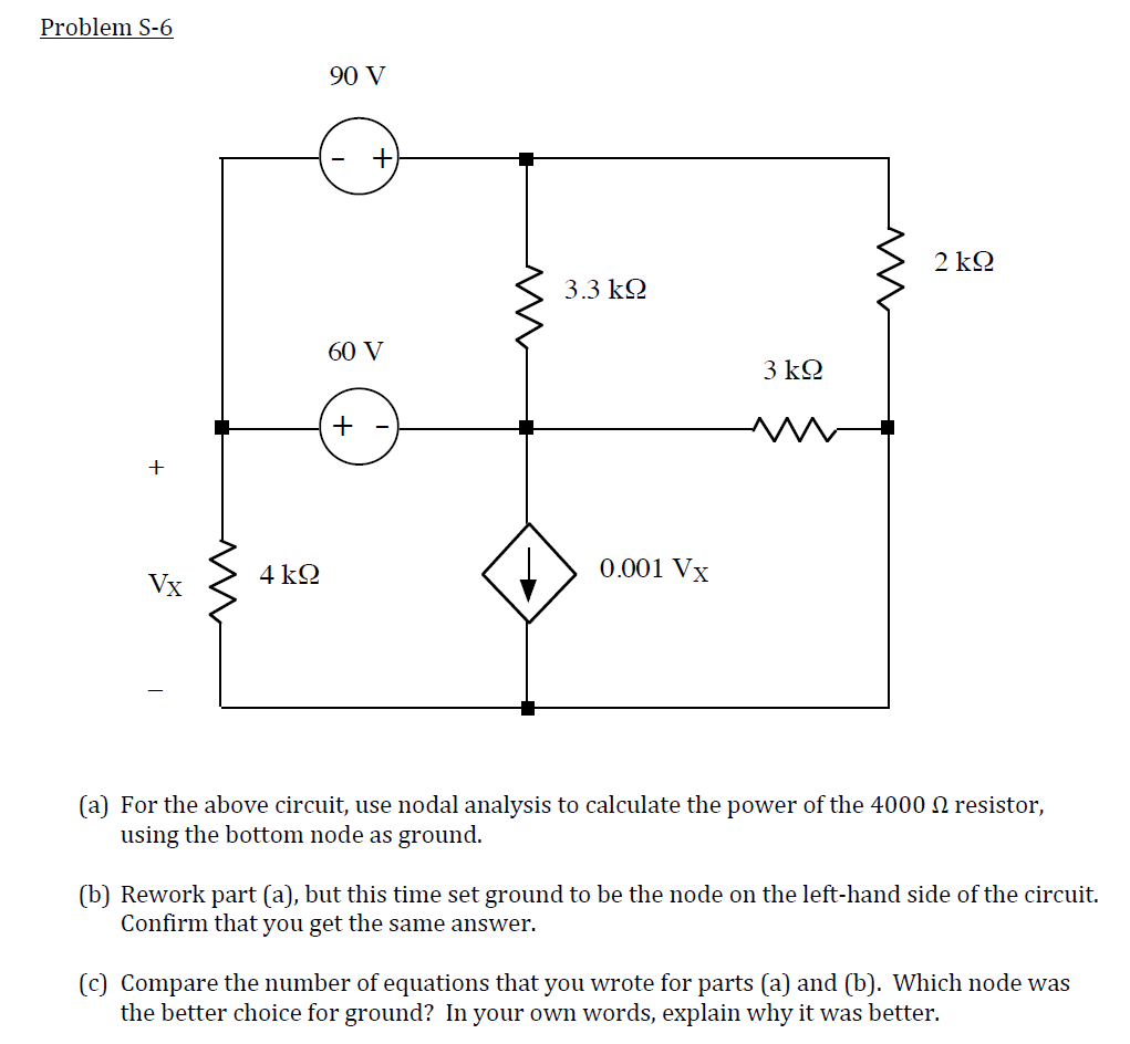 For the above circuit, use nodal analysis to calcu