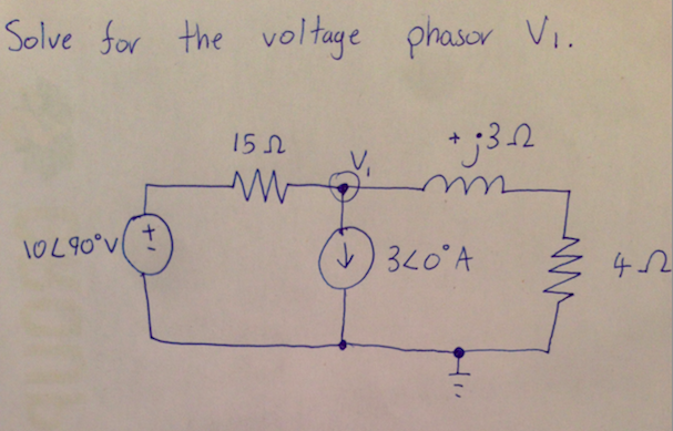 Solve for the voltage phasor V1.