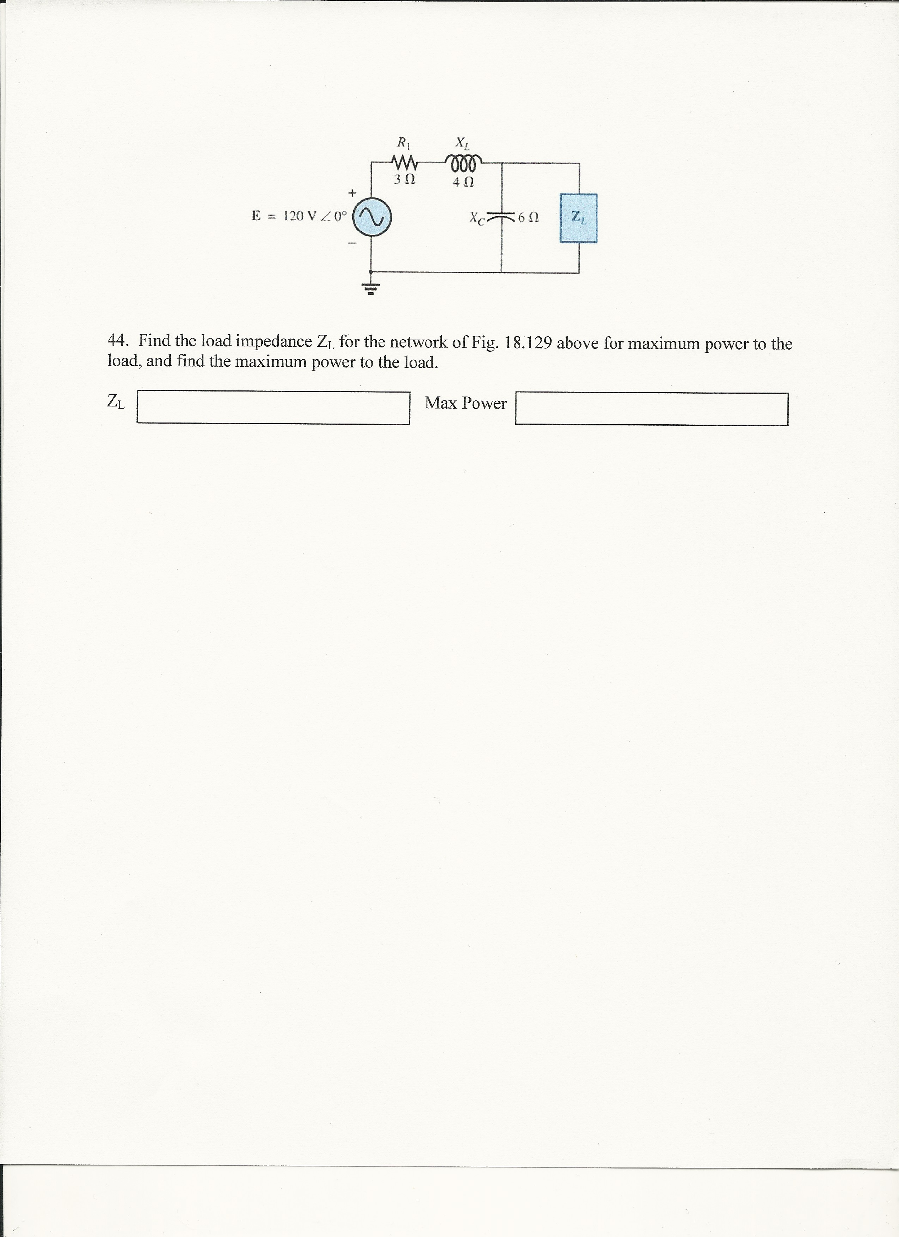 Find the load impedance Z1, for the network of Fig