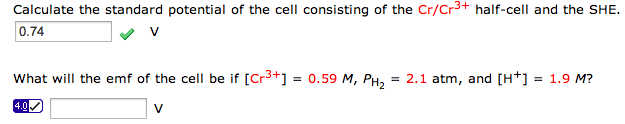 Calculate the standard potential of the cell consi