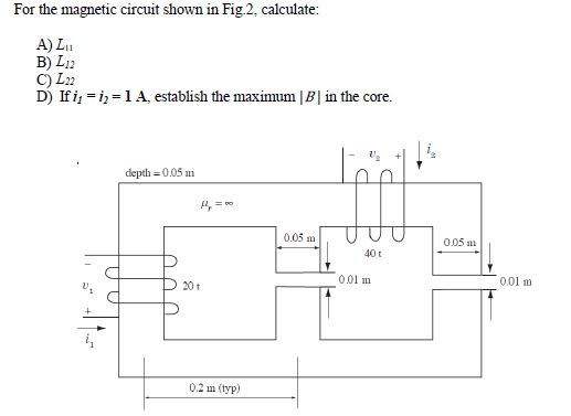 For the magnetic circuit shown in Fig.2, calculate