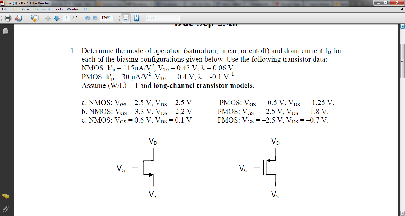 Determine the mode of operation (saturation, linea