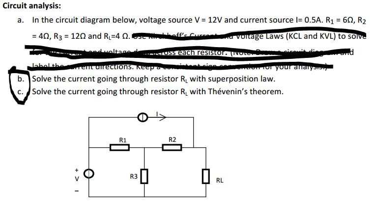 Circuit analysis: In the circuit diagram below, vo