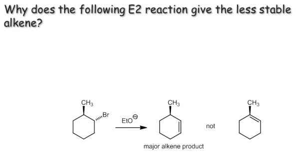 Why does the following E2 reaction give the less s