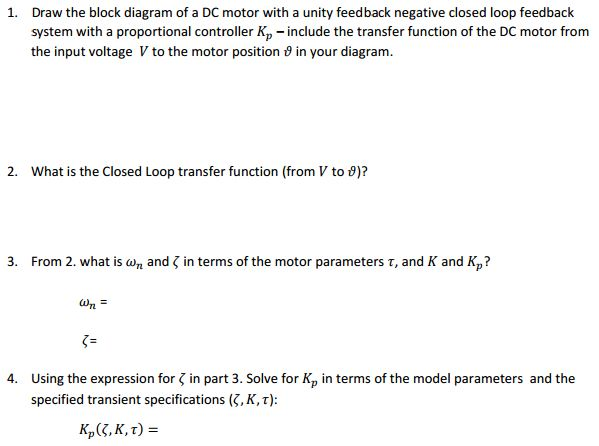 1 draw the block diagram of a dc motor with a uni chegg draw the block diagram of a dc motor with a unity feedback negative closed ccuart Gallery