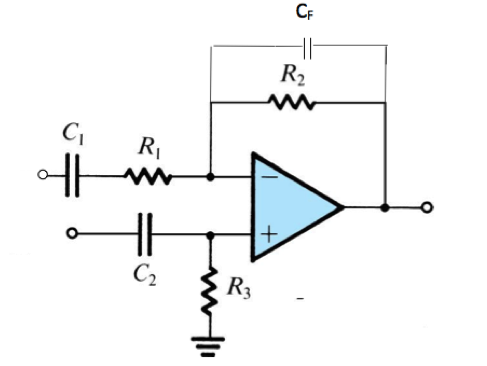 Design the values of the capacitors and resistor
